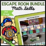Math Escape Room GROWING Bundle - 2nd Grade - Printable & Digital