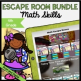 Math Escape Room GROWING Bundle - 4th Grade - Printable & Digital