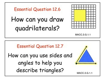 Essential Questions for Grade 3 Go Math Common Core Edition Chapters 9-12