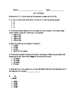 Math Estimating, Rouding, Expanded Form Quiz/Worksheet