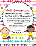 Math Everywhere! Math Printables Grades K-2 CCSS & ELA  Links