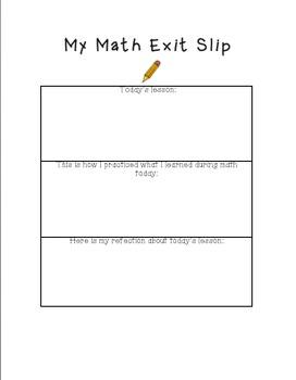 math exit slip by jamie terrell teachers pay teachers. Black Bedroom Furniture Sets. Home Design Ideas