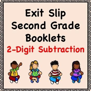 Math Exit Slip Booklets Second Grade (2-Digit Subtraction)