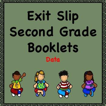 Math Exit Slip Booklets Second Grade (Data)