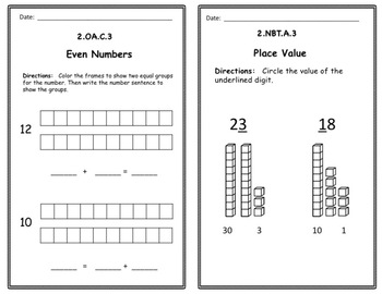 Math Exit Slip Booklets Second Grade (Sample)
