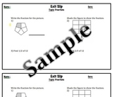 Math Exit Slip-Introduction To Fractions