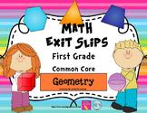 Math Exit Slips 1st grade Geometry CCSS