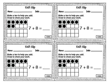 Math Exit Slips 1st grade Operations & Algebraic Thinking CCSS