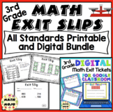3rd Grade Math Exit Slips - All Standards Bundle