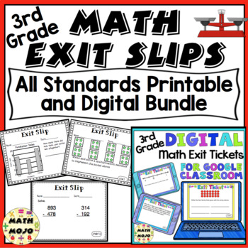 3rd Grade Math Exit Slips - All Standards Bundle