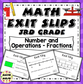 Math Exit Slips - 3rd Grade Common Core Number and Operations - Fractions
