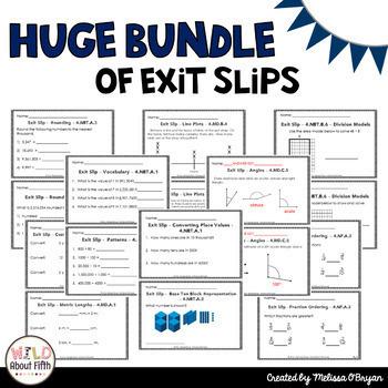 Math Exit Slips 4th Grade BUNDLE Common Core Aligned