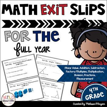 Math Exit Slips 4th Grade BUNDLE