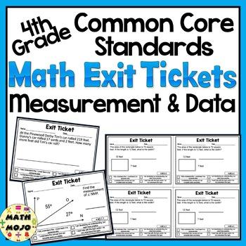 Math Exit Slips - 4th Grade Common Core Measurement and Data