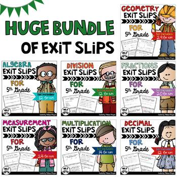 Math Exit Slips 5th Grade BUNDLE
