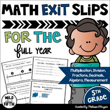 Math Exit Slips 5th Grade BUNDLE Common Core Aligned