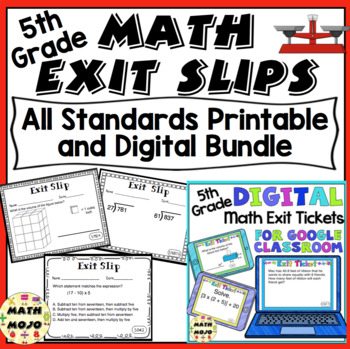 5th Grade Math Exit Slips - All Standards Bundle