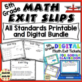 5th Grade Math Exit Slips: Printable and Digital Distance Learning All Standards