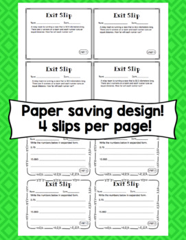 Math Exit Slips - 5th Grade Common Core Number and Operations in Base Ten