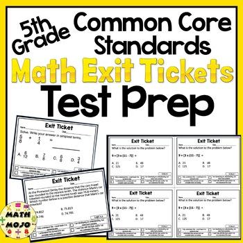 Math Exit Slips - 5th Grade Common Core Test Prep