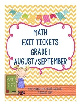 Math Exit Slips - August/September - Grade 1