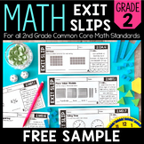 Math Exit Slips | FREE SAMPLE | 2nd Grade