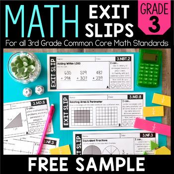 Math Exit Slips | FREE SAMPLE | 3rd Grade