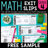 Math Exit Slips | FREE SAMPLE | 4th Grade