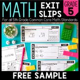 Math Exit Slips | FREE SAMPLE | 5th Grade