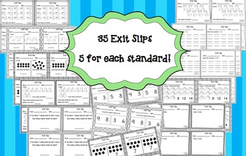 Math Exit Slips Kindergarten Counting and Cardinality CCSS