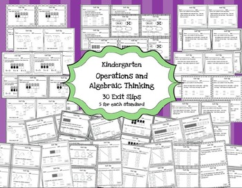 Math Exit Slips Kindergarten Operations and Algebraic Thinking CCSS