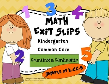 Math Exit Slips Free Sample Kindergarten K.CC.5