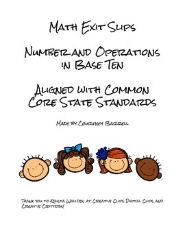 Math Exit Slips: Number and Operations in Base Ten