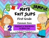 Math Exit Slips Free Sample 1st grade Number & Operations in Base Ten