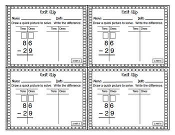 Math Exit Slips Free Sample 2nd grade Number & Operations in Base Ten