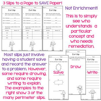 Math Exit Slips - Third Grade