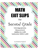 Math Exit Slips for Second Grade