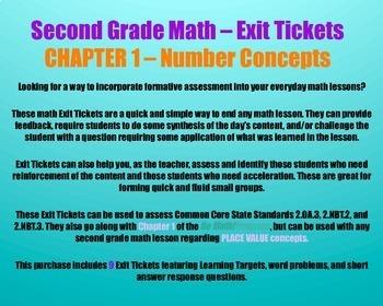 Math Exit Ticket BUNDLE - Grade 2 - Go Math! Program - Chapters 1 - 11