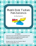 Math Exit Ticket: Pan Balance