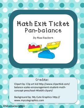 Math Exit Ticket: Pan Balance