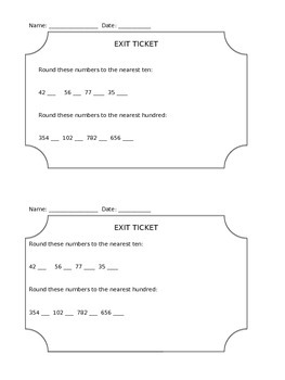 Math Exit Ticket Rounding Tens and Hundreds