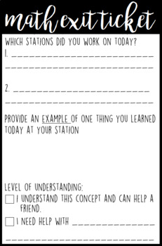 Math Exit Ticket and Reflection
