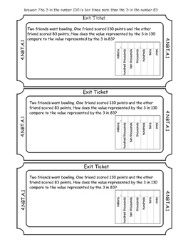 Math Exit Tickets 4th Grade- All Common Core Standards