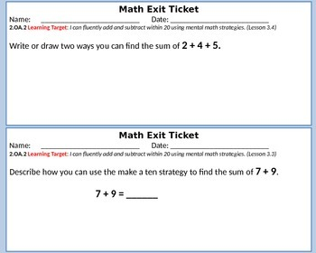 Math Exit Tickets -Addition and Subtraction-Second Grade- Go Math! Chapter 3