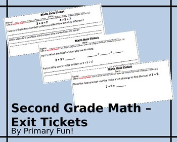 Math Exit Tickets -Addition and Subtraction-Second Grade-