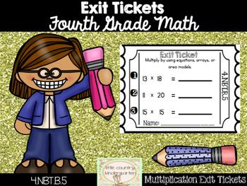 Math Exit Tickets: Fourth Grade Multiplying Multi-digit Nu