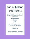 Math Exit Tickets - Fractions, Multiplication, Division, Area