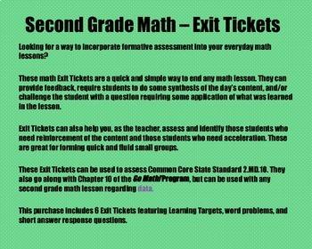 Math Exit Tickets - Grade 2 - Go Math! Program: Data Concepts- Chapter 10
