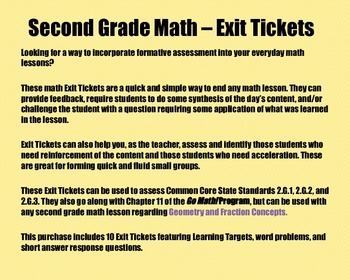 Math Exit Tickets-Grade 2-Go Math! :Geometry & Fraction Concepts-Chapter 11