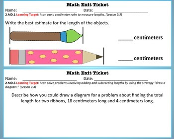 Math Exit Tickets -Grade 2-Go Math! Program: Length in Metric Units-Chapter 9
